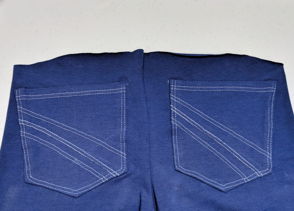 pockets sewn to leggings